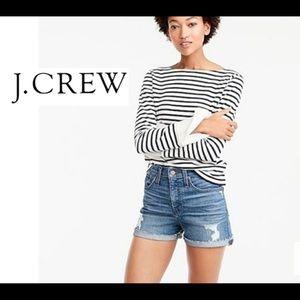 J Crew Distressed Blue Denim Jeans Shorts